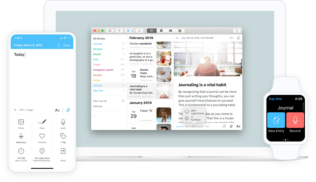 Day One app on phone, Apple MacBook, and Apple Watches